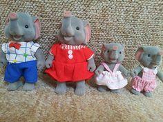 Forest Families Elephants -  vintage Sylvanian Maple Town like flocked Barenwald dolls toys 1980s retro