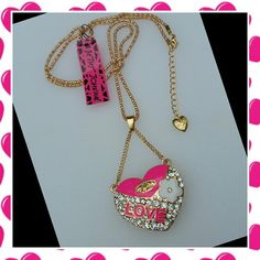 """**FASHION PINK HEART CRYSTAL NECKLACE Very cute with ponk enamel and crystals.  Chain is 30"""" with 2"""" extension chain Betsey Johnson Jewelry Necklaces"""