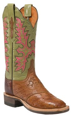 Lucchese® Cowgirl™ Ladies Brown Full Quill Ostrich with Green Top Crepe Square Toe Boot