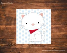 INSTANT PRINTABLE White Cat and Kitten Nursery Art (12x12)
