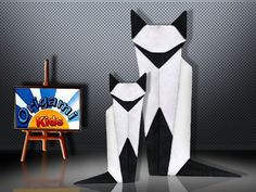 Mother and Son. Origami Siamese Cat by Martha Mitchen  Origami Siamese Cat by Martha Mitchen  Designer: Martha Mitchen  Folder and Photo: Origami-Kids  http://origami-blog.origami-kids.com/mother-and-son-origami-siamese-cat-by-martha-mitchen.htm