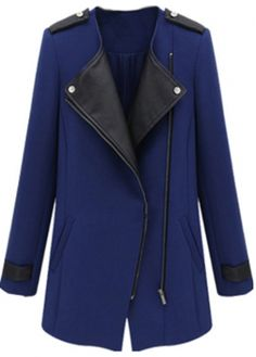 Fine Quality Long Sleeve Blue Zip Fly Trench Coat with cheap wholesale price, buy Fine Quality Long Sleeve Blue Zip Fly Trench Coat at wholesaleitonline.com !