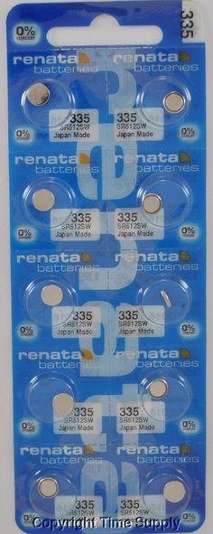 10 Pc Renata 335 Watch Batteries 335 Sr512Sw Sr512 512Sw 0% Mercury