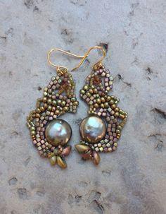 Delightful free form beaded earrings in shades of by JudesArt
