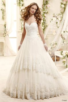 colet bridal 2015 style 60 coab15271iv strapless sweetheart neckline lace a line wedding dress scalloped tiered skirt