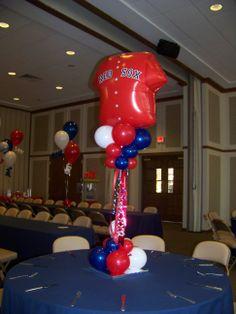 Baseball, Red Sox theme topiary balloon centerpiece