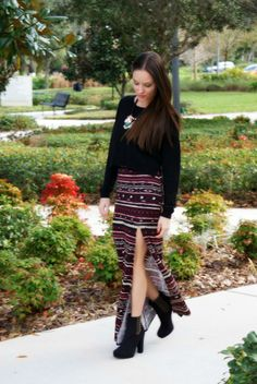 maxi skirt, cropped sweater and boots