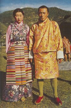 Color, pattern. The Prince of Bhutan and his bride, 1952.