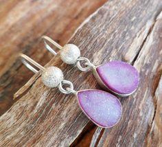 Druzy Agate Earrings. Sterling Silver Earrings. Handmade by Unics