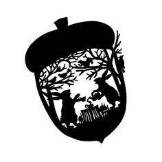 Hare and Rabbit's Nutty Tea Party - Black and White Paper Cut Silhouette Rabbit Pours Tea While Squirrel Looks for Acorns