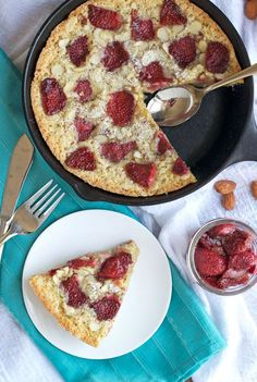 Strawberry Almond Skillet Cake. The moistest one-bowl almond cake topped with roasted strawberries.