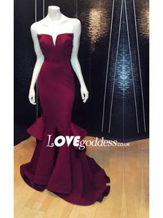 Fashion Burgundy Satin Sweetheart Mermaid Evening Gown - Prom Dresses - Lovegoddess