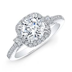 18k White Gold Square Halo Princess-cut Diamond Side Stone Engagement Ring