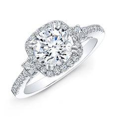 18k White Gold Square Halo Princess-cut Diamond Side Stone Engagement Ring