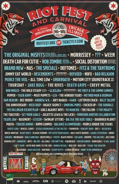 Riotfest 2016 lineup. was so amazing. 3 days of fun and music.