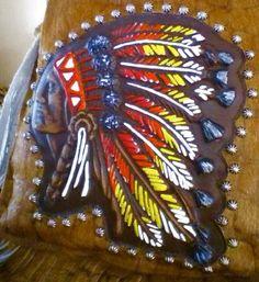 Raviani Indian Head Aztec Western Leather & Hide Cross Body Handbag Purse Fringe #Raviani #MessengerCrossBody