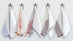 Pastry Stripe Kitchen Towels, sold in sets of two for $22, are ideal for draping over rising bread dough and drying glassware (without leaving a lint trail). Made of a linen-cotton blend.