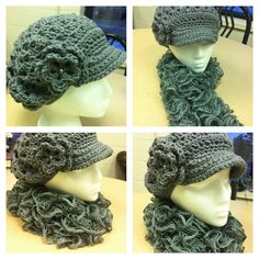Hat with matching curly scarf made outta Red Heart Sashay yarn