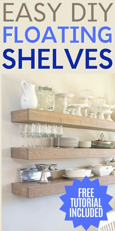 Learn how to build these easy DIY floating shelves with our free tutorial and step-by-step directions. #floatingshelves #DIYprojects