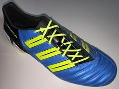 SR4U Reflective Neon Yellow Soccer Laces on adidas Predator adiPower