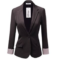 Meaneor Womens Basic Solid Casual One Button Jacket Blazer Charcoal XXL ** Check out this great product.