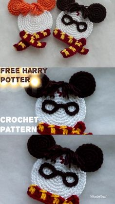 Harry Potter and Ron Weasley Free crochet pattern. Crochet Disney, Disney Crochet Patterns, Crochet For Kids, Free Crochet, Harry Potter Crochet, Yarn Crafts, Diy Crafts, Crochet Gifts, Crochet Projects