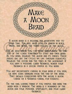 Make a Moon Braid page for Book of Shadows, Wiccan, Witch, or Pagan Spell Wiccan Spell Book, Wiccan Witch, Wicca Witchcraft, Magick Spells, Witch Spell, Witch Rituals, Moon Witch, Spell Books, Grimoire Book