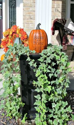 These planters held summer flowers that recently faded; so I decided they'd be the perfect place for my welcoming pumpkins. I think they look perfect with the ivy. And I'm already thinking about what will work in that spot over the holidays. Autumn Inspiration, Home Decor Inspiration, Decor Ideas, Craft Ideas, Outdoor Life, Outdoor Decor, Fall Decorating, Autumn Home, Summer Flowers