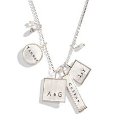 Personalized Jewelry Valley Girl Mixed Shape Personalized Necklace - The Valley Girl Mixed Shape Personalized Necklace is an eclectic mix of personalized charms available in rose gold, yellow gold or sterling silver rim. I Love Jewelry, Jewelry Box, Jewelry Design, Jewlery, Three Sisters Jewelry, Gold Chains For Men, Valley Girls, Personalized Necklace, Name Necklace