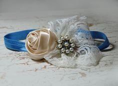blue and cream baby headband, shabby chic roses headband, newborn head band, headbands