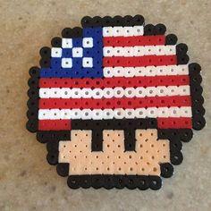American flag themed Mario mushroom perler beads by ewirtz217