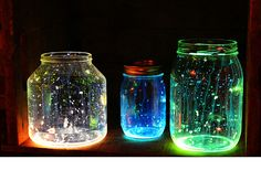 Glowing paint mason jars    - 20 Awesome  DIY  Ways To Recycle  Mason Jars