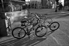 Bikes on Portage and Main, Winnipeg by AJ Batac, via Flickr