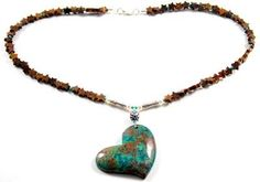 Earthy Green Blue Brown Congo SHATTUCKITE Pendant 925 Silver Necklace
