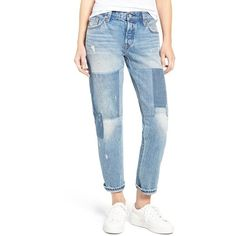 Women's Levi'S 501 Ct Boyfriend Jeans ($119) ❤ liked on Polyvore featuring jeans, stacked patch blue, slim tapered jeans, levi jeans, boyfriend jeans, blue denim jeans and slim straight jeans