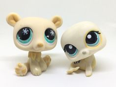 LITTLEST PET SHOP MIXED LOT ~ LPS CREAM COLORED POLAR BEAR & SEA LION BLUE EYES #Hasbro