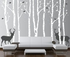 Birch Tree Winter Forest Set Vinyl Wall Decal #1161 - InnovativeStencils minus the deer and snow with birds in yellow.