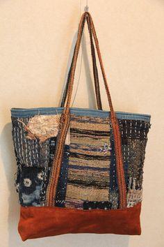 sac cabas en boro japanesesashiko cousu coton indigo
