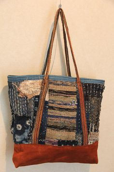Japanesesashiko stitched indigo cotton boro tote bag