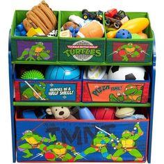 Teenage Mutant Ninja Turtles Multi-Bin Toy Organizer TMNT Playroom Furniture #Delta