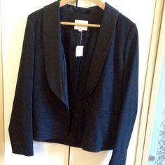 Tux style blazer One button down w silk collar, sz 6 true to sz. Light shoulder pads. Fully silky lined LOFT Jackets & Coats Blazers