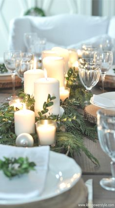 A rustic Christmas table setting