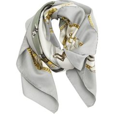 Pre-owned silk scarf (€240) ❤ liked on Polyvore featuring accessories, scarves, grey, silk scarves, grey scarves, vintage scarves, hermès and square scarves