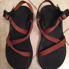 Burnt orange chacos Great condition, only wore a few times, but one fray as shown Chacos Shoes