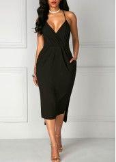 High Waist Asymmetric Hem Double Slit Black Dress
