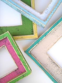 Handmade rustic and colorful frames
