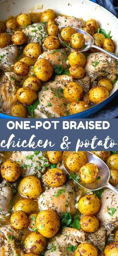There is so much flavor in this convenient one-pot braised chicken and potato recipe that you won't believe how healthy it is! 369 calories and 7 Weight Watchers SP | Recipes | Thighs | Thigh recipes | How to | Italian #weightwatchers #onepotmeal #chickenthighs #chickenrecipes Best Chicken Recipes, Potato Recipes, Beef Recipes, Easy Recipes, Cooking Recipes, Healthy Recipes, Top Recipes, Vegetable Recipes, Healthy Food