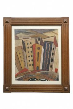 """Framed Russian architectural painting of apartment buildings in Moscow 25.5 W 30"""" H Origin: Russia, circa 1928"""