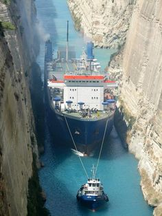 The famous Corinth Canal connects the Gulf of Corinth with the Saronic Gulf in the Aegean Sea. It cuts through the narrow Isthmus of Corinth and separates the Peloponnesian peninsula from the Greek mainland, thus effectively making the former an island. The canal is 6.4 kilometers in length and only 21.3 meters wide at its base