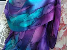Scarf Silk Women Hand Dyed Hand Painted Northern by MommaGoddess